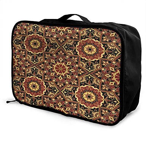 Turkish Pattern Luggage trolley bag Byzantine Old Ornament in Dark Colors Stylized Medieval Mosaics Waterproof Fashion Lightweight Ruby Mustard Black