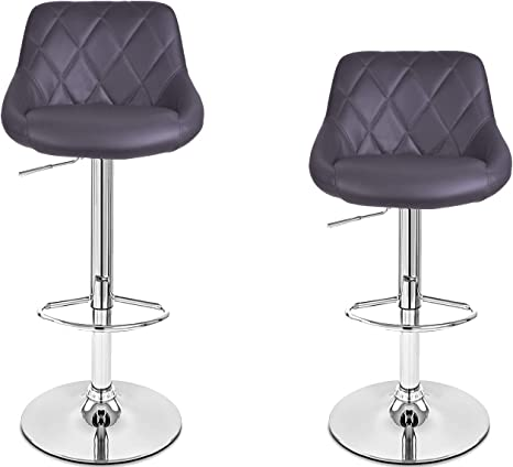 Set of 2 White Bronte Living Leatherette Bar Stool 360 Swivel High Back Rest Adjustable Height Base with Hard Floor Protection Plastic