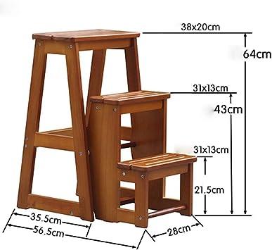 GBX Taburete, escalera Taburete plegable de madera maciza Taburete plegable Silla plegable Adecuado para cocina Dormitorio Interior Tres capas Multiuso Luz de doble uso Color nogal 28X56.5X64Cm Tabur: Amazon.es: Bricolaje y herramientas