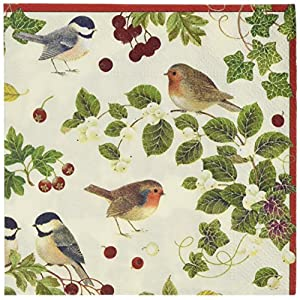 Entertaining with Caspari Winter Birds Cocktail Napkin, Ivory, Pack of 20