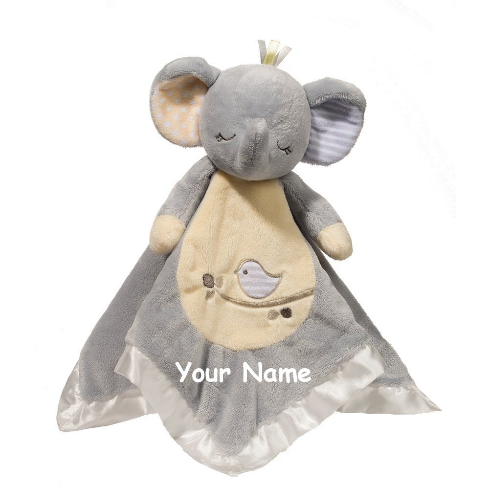 Personalized Elephant Baby Snuggle Blanket Gift- 13 Inches