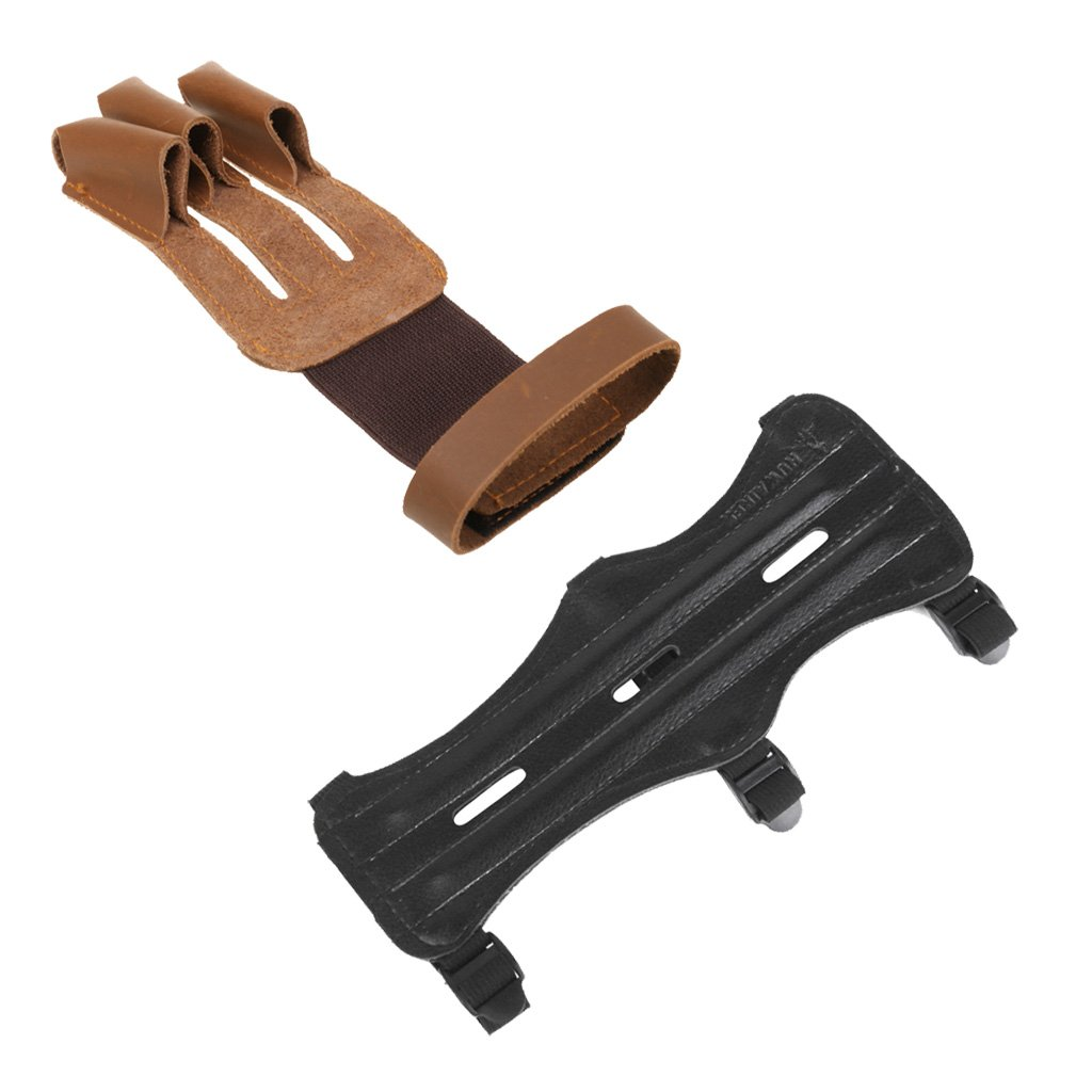 Dovewill Black Leather Archery Arm Guard With 3 Adjustable Straps + Brown Leather Three Finger Archery Glove - Suitable for Men & Women