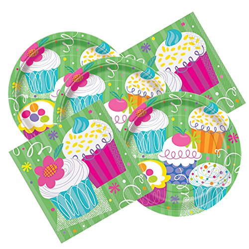 Cupcake Themed Birthday Party Plates & Napkins Serves 16