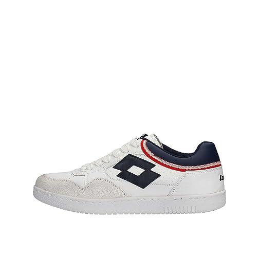 Scarpe Lotto leggenda Icon bianco pelle basse S9983 uomo rosso blu sneakers   Amazon.it  Scarpe e borse ea7bb7ea63a