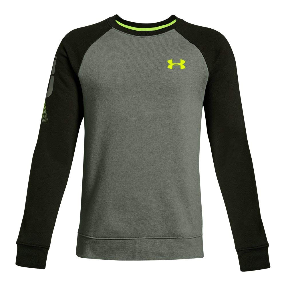 Under Armour Boys Rival Crew, Moss Green (493)/High-Vis Yellow, Youth X-Large