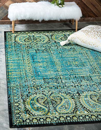 Unique Loom Imperial Collection Modern Traditional Vintage Distressed Aquamarine Area Rug 4 0 x 6 0