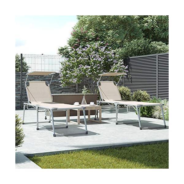 61MUzqFZ8ZL SONGMICS Sonnenliege, Liegestuhl, Gartenliege, extra groß, 65 x 200 x 48 cm, bis 150 kg belastbar, mit Sonnendach…