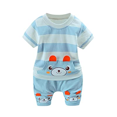 FORESTIME_baby clothes boy FORESTIME Cute Fashion Boy's Stripe Cartoon Pocket Spring Bear Top T Shirt+Shorts Outfit Set