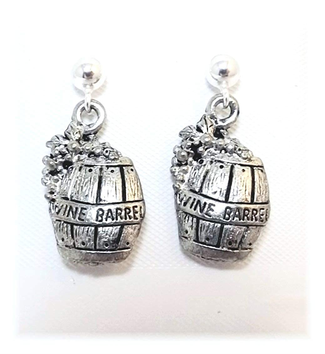 Pewter Wine Barrel Charms on Hypoallergenic Ball Post Stud Earrings