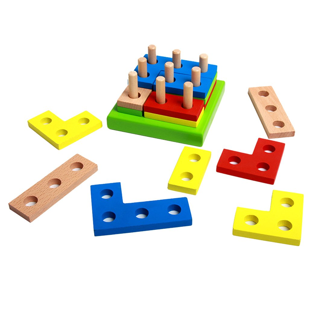 MagiDeal Kids Baby Wooden Geometry Shapes Puzzle Building Blocks Early Cognition Color Shapes Learning Educational Stacking Intelligence Toy