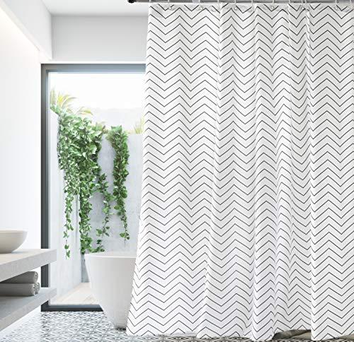Premium White Fabric Shower Curtain Farmhouse Cloth Shower Curtains for Bathroom 72 x 72 (Black Stripe)-Machine Washable (Black And White Chevron Shower Curtain Cheap)