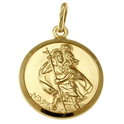 7649eadae66 9ct Gold St Christopher Pendant Medal - 18mm - 3.3g - Includes Jewellery  presentation box: Amazon.co.uk: Jewellery