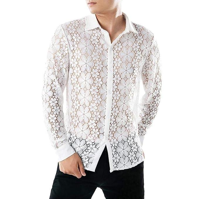 959d9791 ♚Blusa de Hombre Hueco,Camisas de Encaje Casual de otoño Camisa de Manga  Larga Camisa Hueca Top Absolute: Amazon.es: Ropa y accesorios