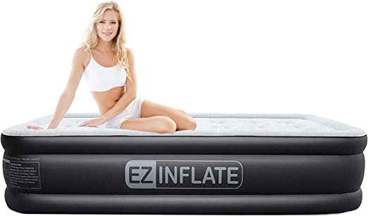 Amazon.com: EZ inflado doble cama de aire alto: Home & Kitchen