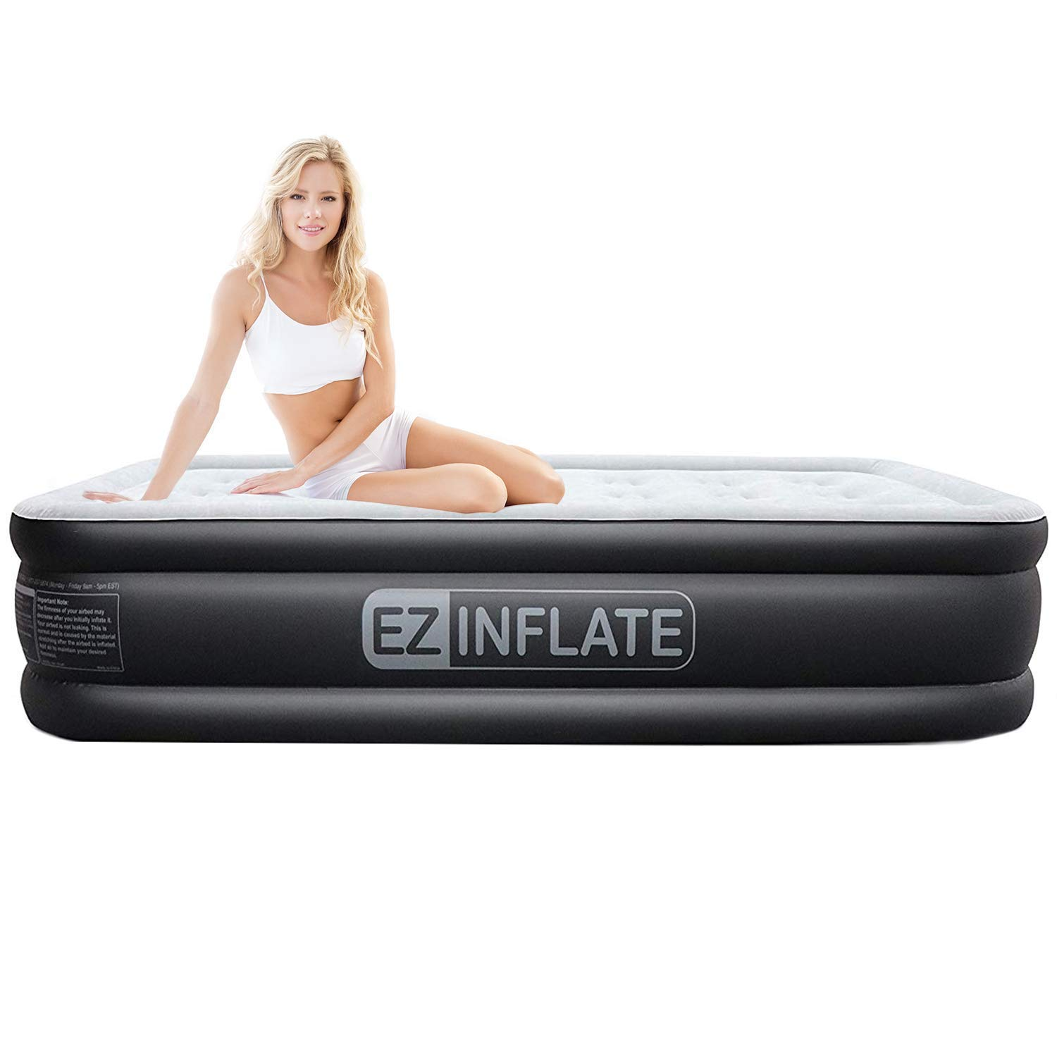 EZ INFLATE Dual Pump Technology Queen air Mattress with Built in Pump, Luxury Queen Size airbed, Inflatable Mattress for Home Camping Travel, Queen Blow up Bed, 2-Year Warranty by EZ INFLATE