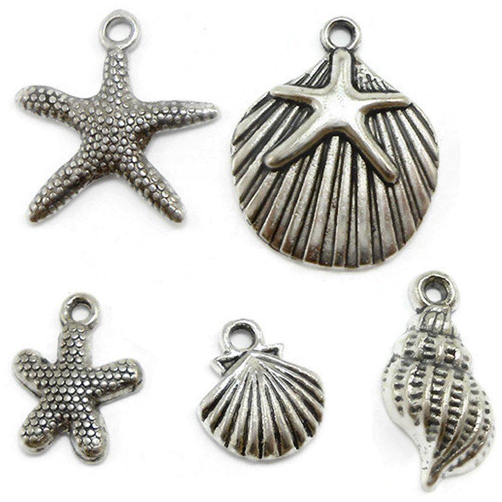 0ff92ae2edb0f8 Amazon.com: CrazyPiercing 30 Starfish, Seashell Charms Lot silver tone (30  PCS)