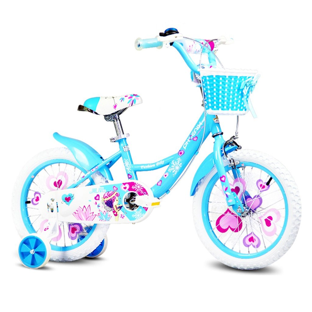 Bicicletas Infantiles niños Estilo para niños y niñas para bebés Triciclo para niños Individuales (Color : Blue, Size : 18 Inch)
