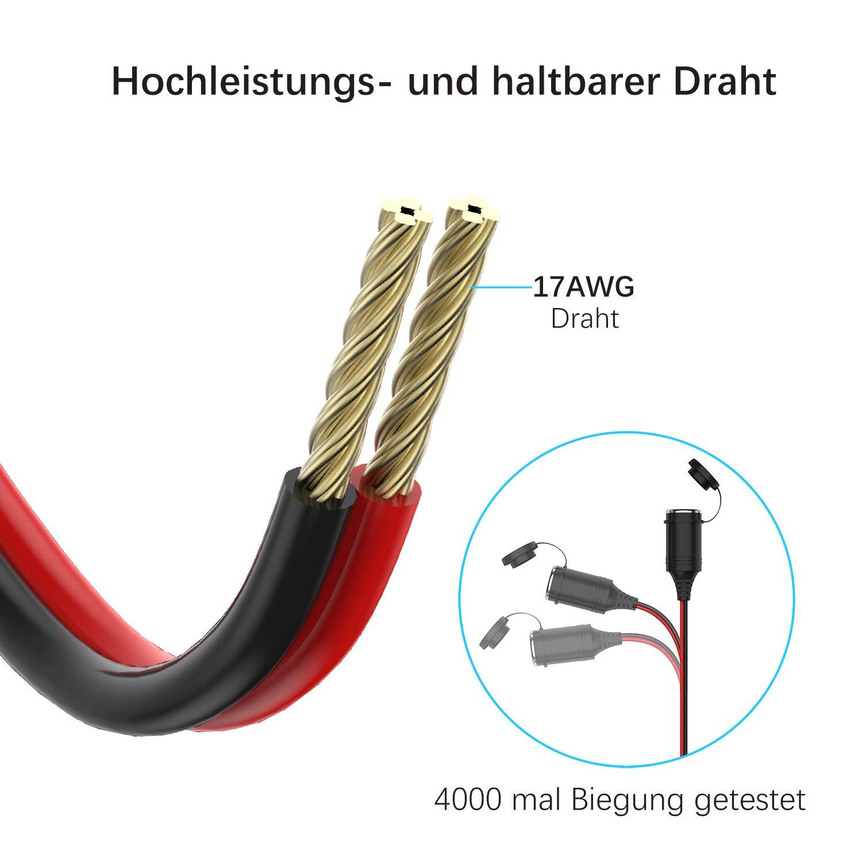 Neue Dawn 3.5m Allume-cigare C/âble Alimentation Rallonge /étanche DC Adaptateur Chargeur de voiture 12V-24V avec Protection Cap pour T/él/éphone mobile Tablette ect 2 pi/èces