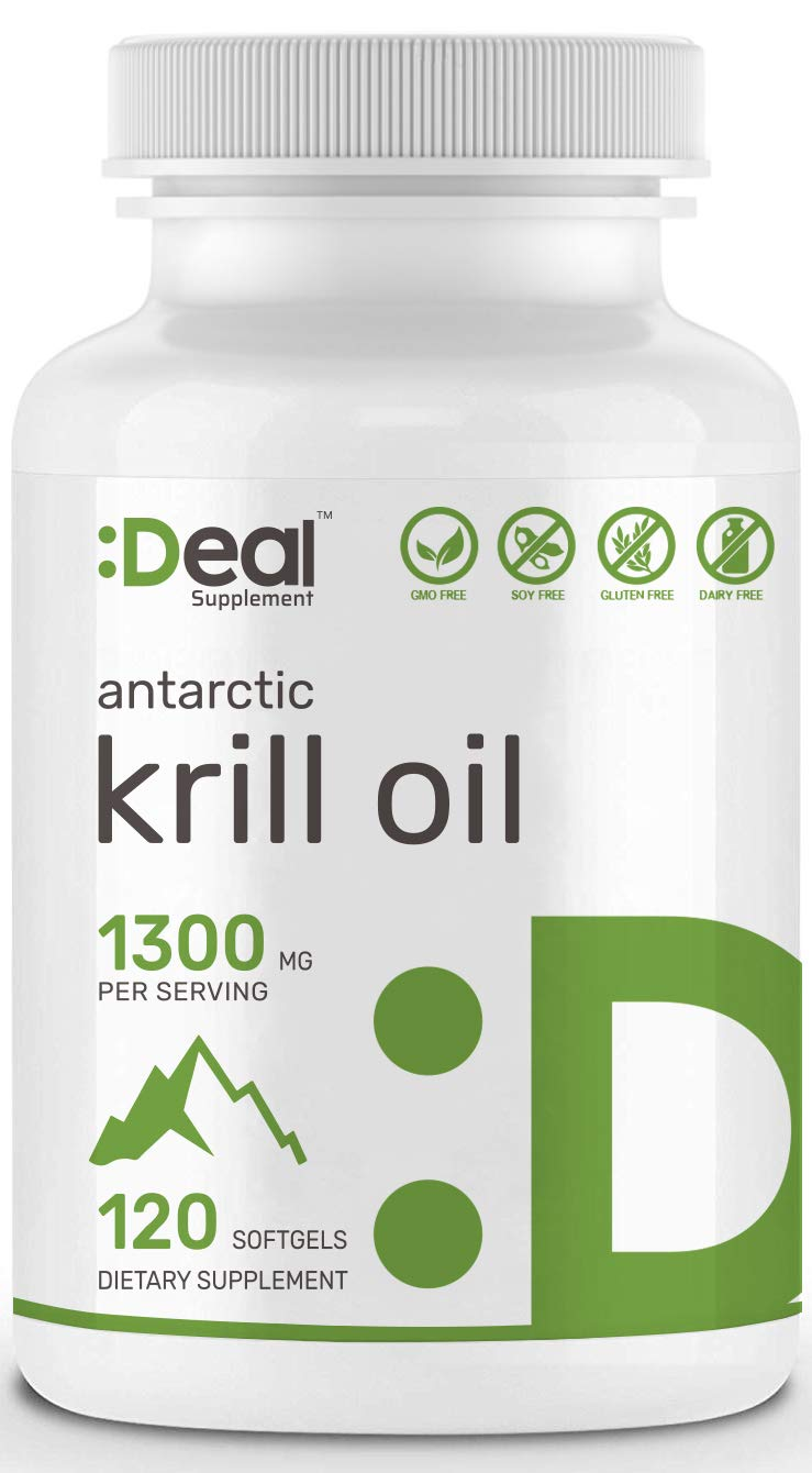 Deal Supplement Antarctic Krill Oil, 1300mg Per Serving, 120 Softgels, Non-GMO by Eagleshine Vitamins