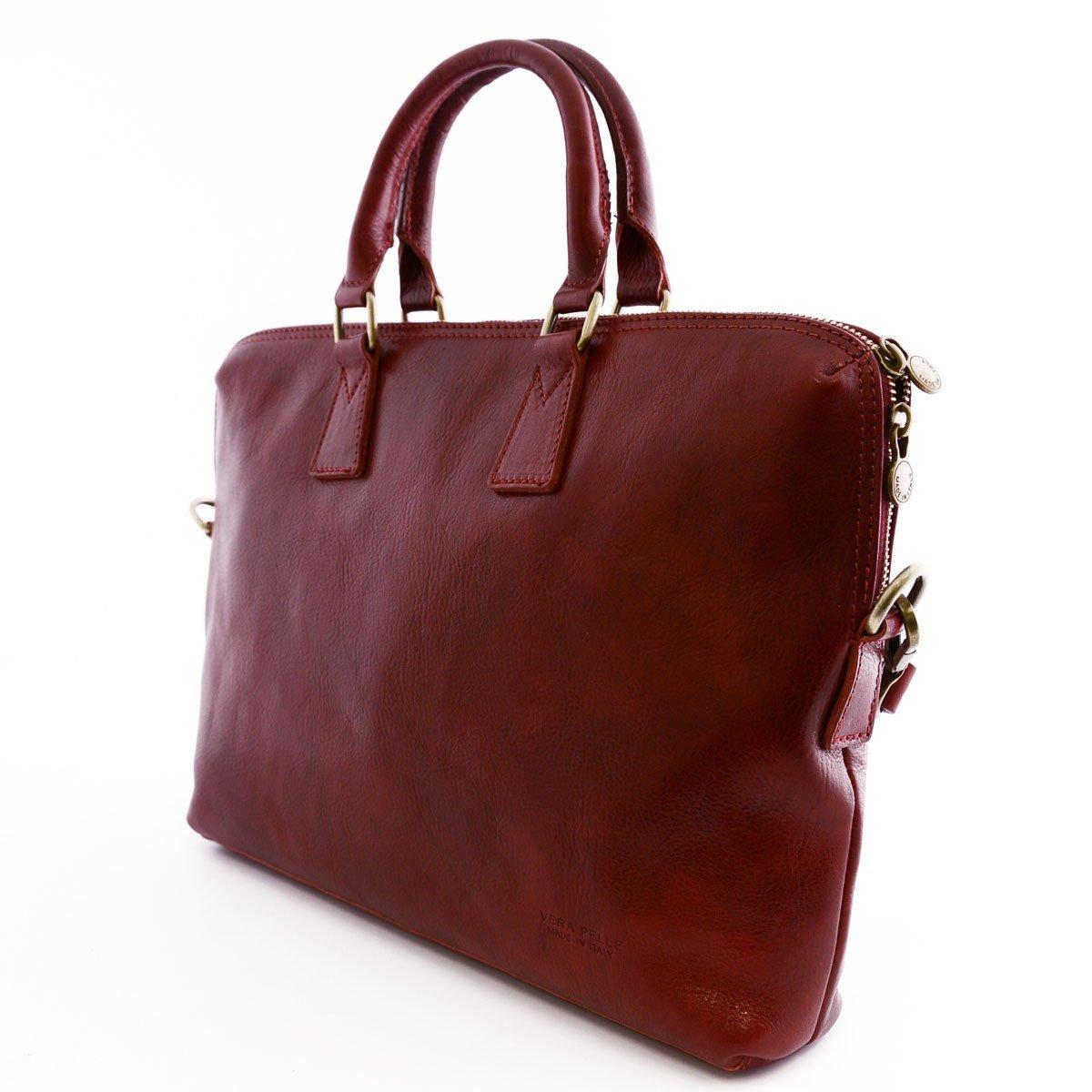 Portadocumenti A4 In Vera Pelle Con Tracolla Rimovibile Colore Rosso Pelletteria Toscana Made In Italy Business