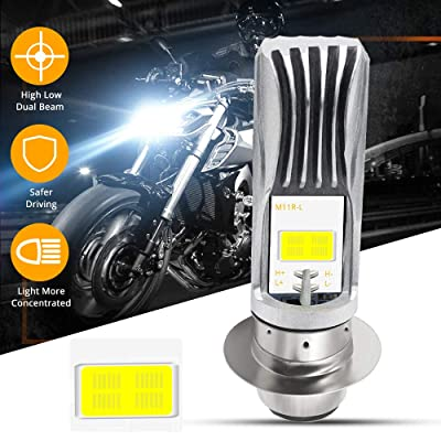 YEERON P15D LED Bulb 1800Lumens High Power 8Watts H6M LED Motorcycle Lamp High Low Beam.Xenon White(1-pack).: Automotive