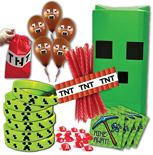 Mining Birthday Party Favor Pack for 14 Guests (Includes favor bags, wristbands, stickers, red stones, balloons & TNT licorice wrappers for 14 guests and Bonus TNT bag for birthday (Party Minecraft)