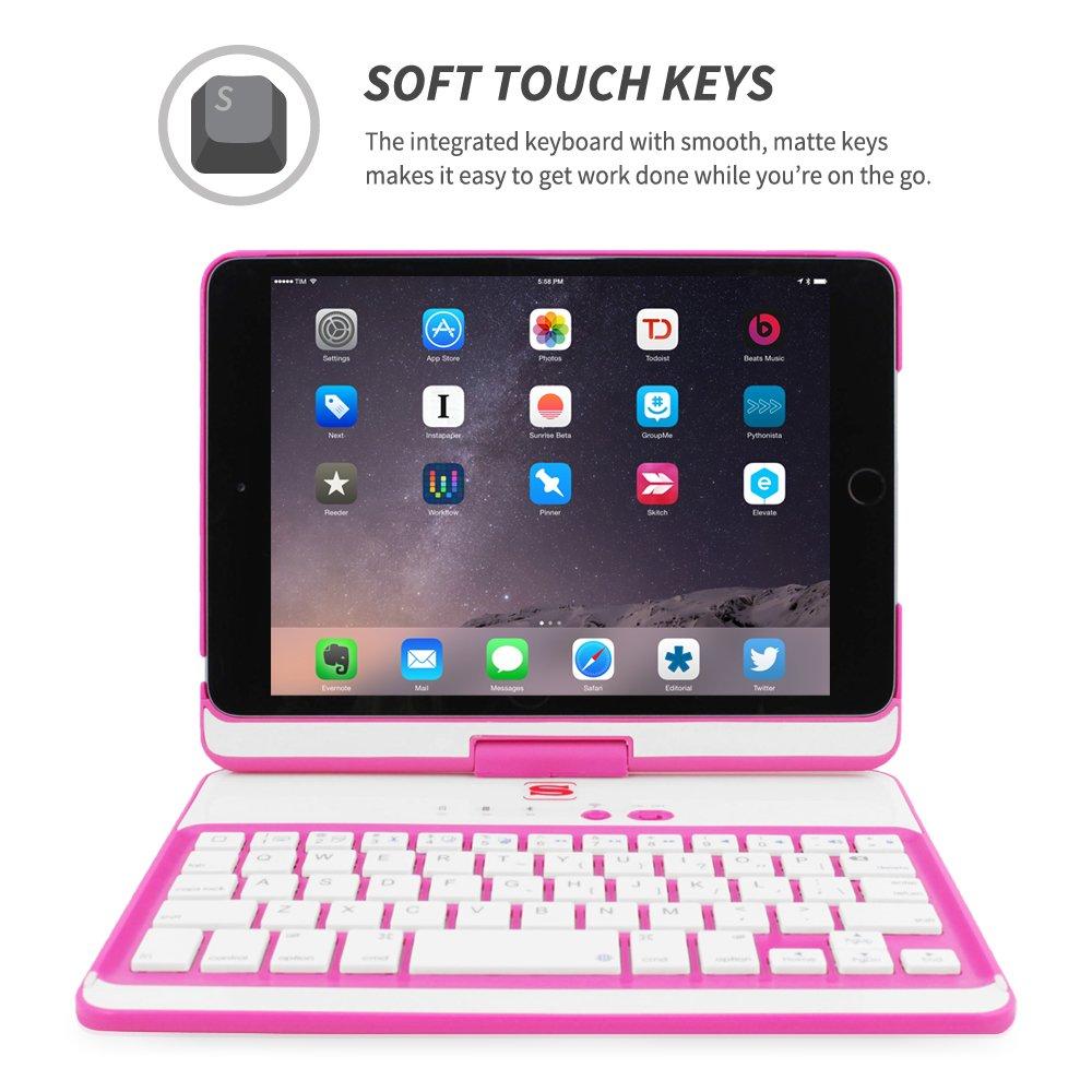 Ultra Slim Keyboard Case with Bluetooth Connectivity /& Lifetime Guarantee iPad Mini 4 360/° Rotatable Keyboard Case Snugg/™ for Apple iPad Mini 4 Black