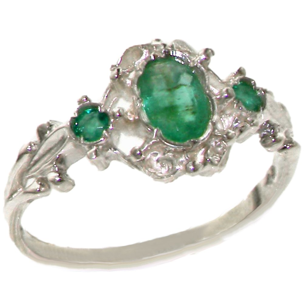 925 Sterling Silver Natural Emerald Womens Promise Ring - Size 5.5