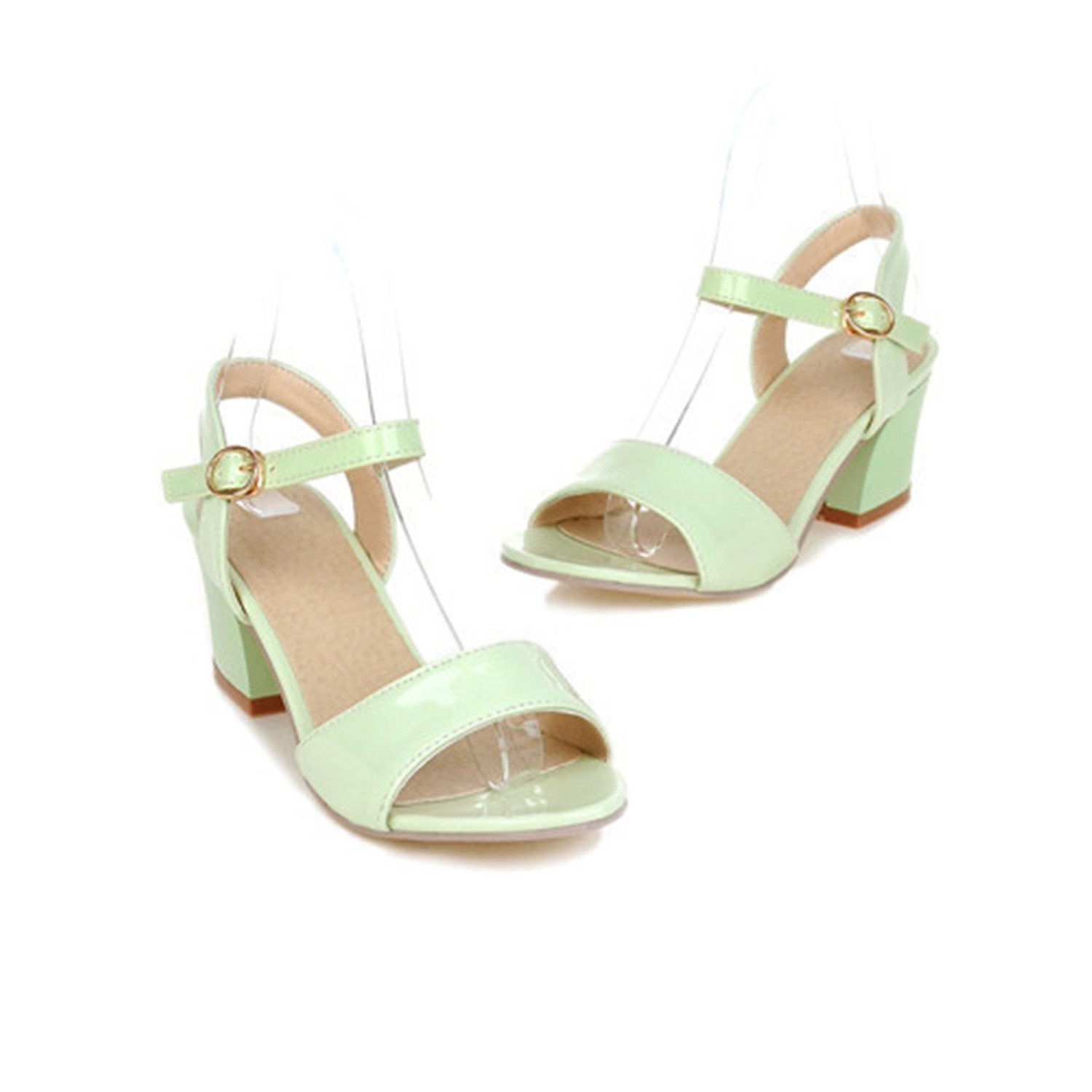 Micca Bacain Women Size Chunky 9 10 Open Toe Chunky Size High Heels Sandals White Pink Green Shoes 34-43 9 M US|Army Green B074PNS43R 731a45
