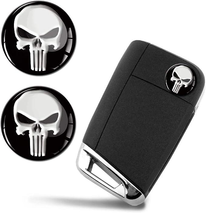 Skinoeu 2 X Ø14mm The Punisher Emblem Aufkleber Stickers Für Fernbedienung Auto Moto Logo Key Badge Tuning Ks 161 Auto