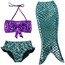 TFJH E 3PCS Kids Girls Fancy Princess Swimmable Mermaid Tail Set 3-10Years