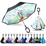 ZOMAKE Double Layer Inverted Umbrellas for Women, Reverse Folding Umbrella Windproof UV Protection Big Straight Umbrella…