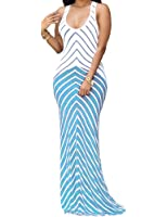 SheKiss Women's Casual Sexy Summer Sleeveless Striped Bodycon Bandage Club Long Maxi Dress With Plus Size Floor Length …