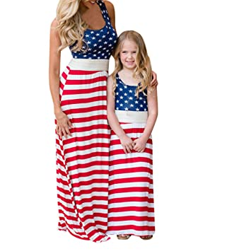 ebb5eec032 Fiaya Mommy and Me Girls 4th Of July Dress Red Stripe Sleeveless O Neck  Family Outfit