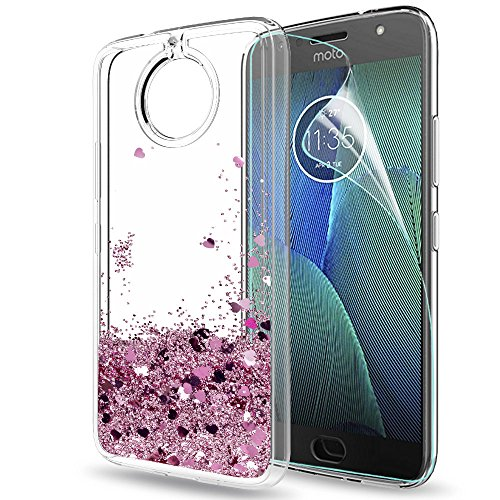 Moto G5S Plus Case,Moto G5S + Case with HD Screen Protector for Girl Women,LeYi Glitter Shiny Liquid Clear TPU Protective Phone Case for Motorola G5S Plus / G5S+ Case (USA) ZX Rose Gold