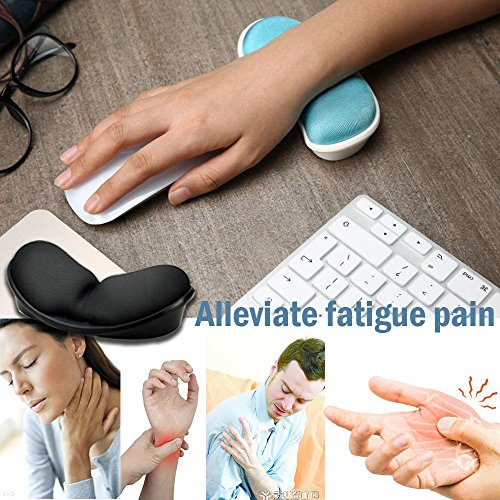 Mouse Wrist Rest, Iwork Wrist Rest Pad For Easy Typing Pain Relief Keyboard Wrist Rest Memory Foam Wrist Rest For Office/Gaming/Computer/Laptop/Mac Mouse Wrist Rest Pad Support Gaming (black) by Iwork (Image #1)'