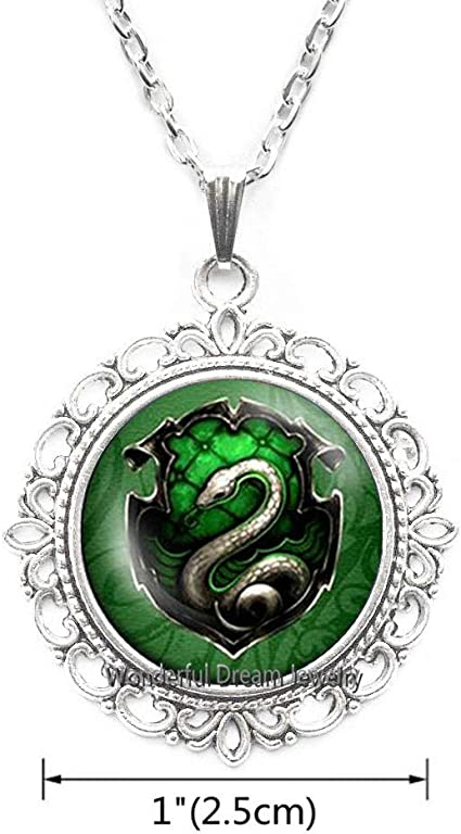 Waozshangu Movie Inspired Necklace Death Hallows Steampunk Snake Pendant Women Jewelry Glass Jewelry Mens,PU193