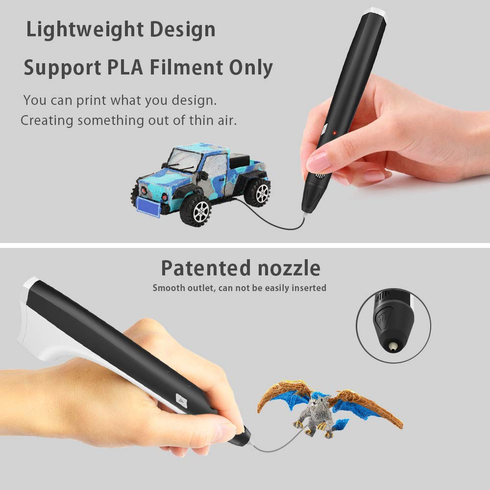 3D Pen,3D Printing Pen Competable with PLA /& ABS Filaments with Speed and Temperature Adjustable,Non-Toxic-Wont Clog Design,Coming with Shovel and Stencil as Bonus Black