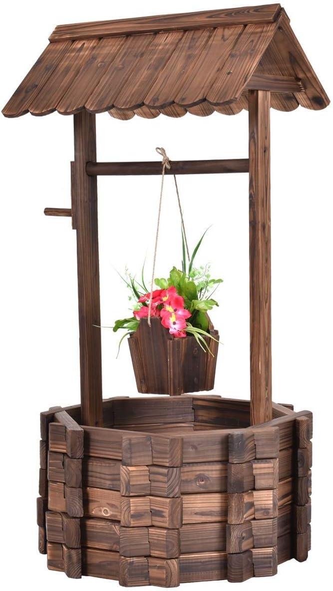 Al aire libre de madera Wishing Well cubo flores plantas maceta Patio jardín decoración del hogar: Amazon.es: Jardín