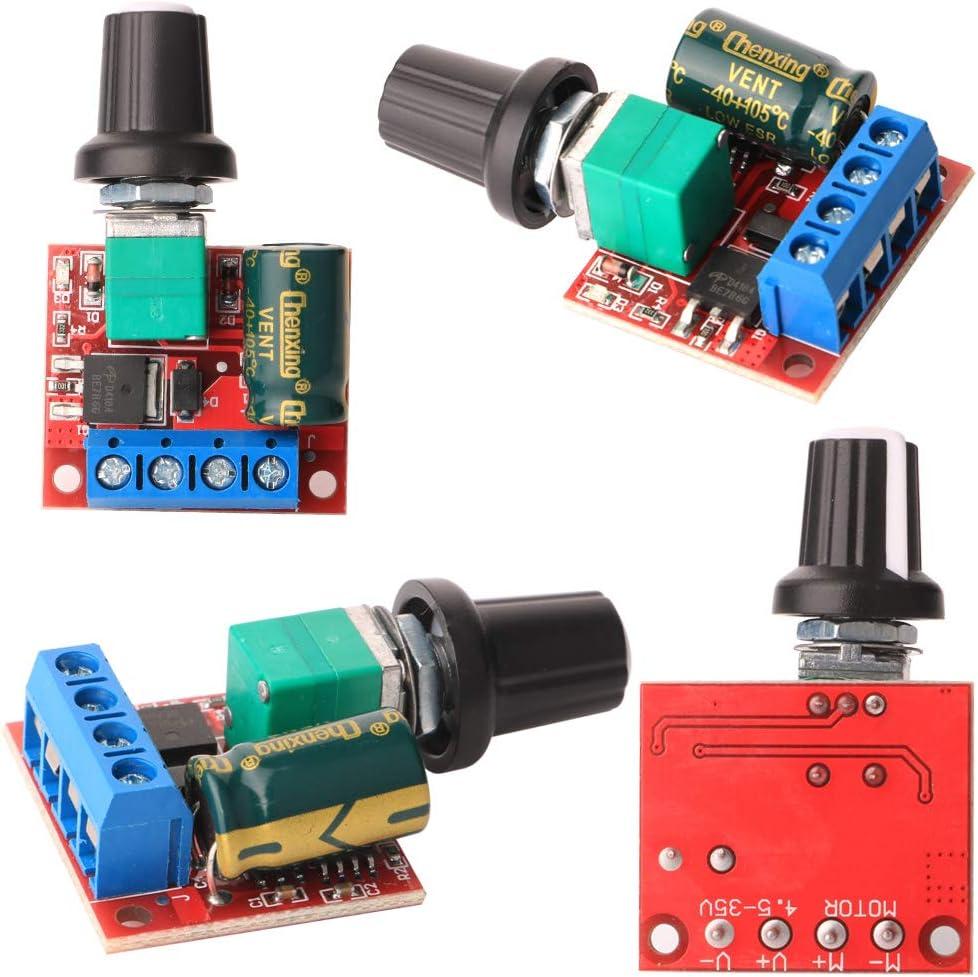 Gebildet 5pcs Mini DC Motor PWM Velocidad Controlador,DC 5V-35V 5A Interruptor Ajustable del Velocidad,6V 12V 24V Regulador de Voltaje Variable con Indicador LED