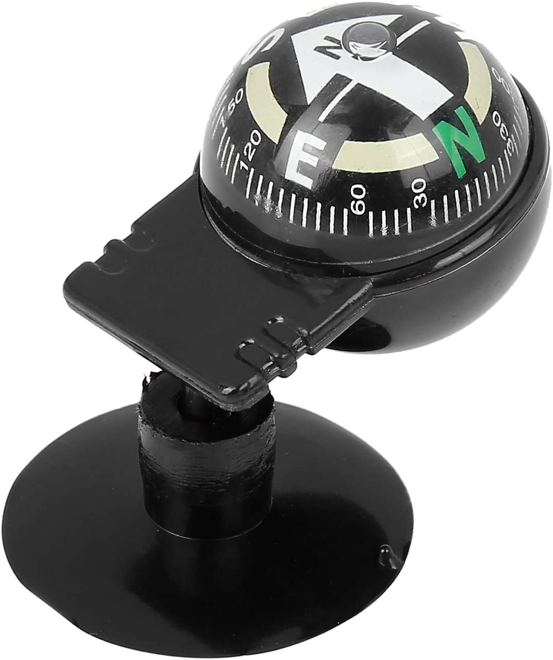 X AUTOHAUX 2pcs Car Compass Ball Sucker Dashboard Mount Navigation Black
