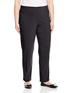Briggs New York Womens Plus-Size Super Stretch Millennium Welt Pocket Pull On Career Pant Pants Brown//White 18W