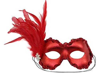 ba6661947194 Image Unavailable. Image not available for. Color: Success Creations Belle Masquerade  Mask for Women Red with Rhinestones