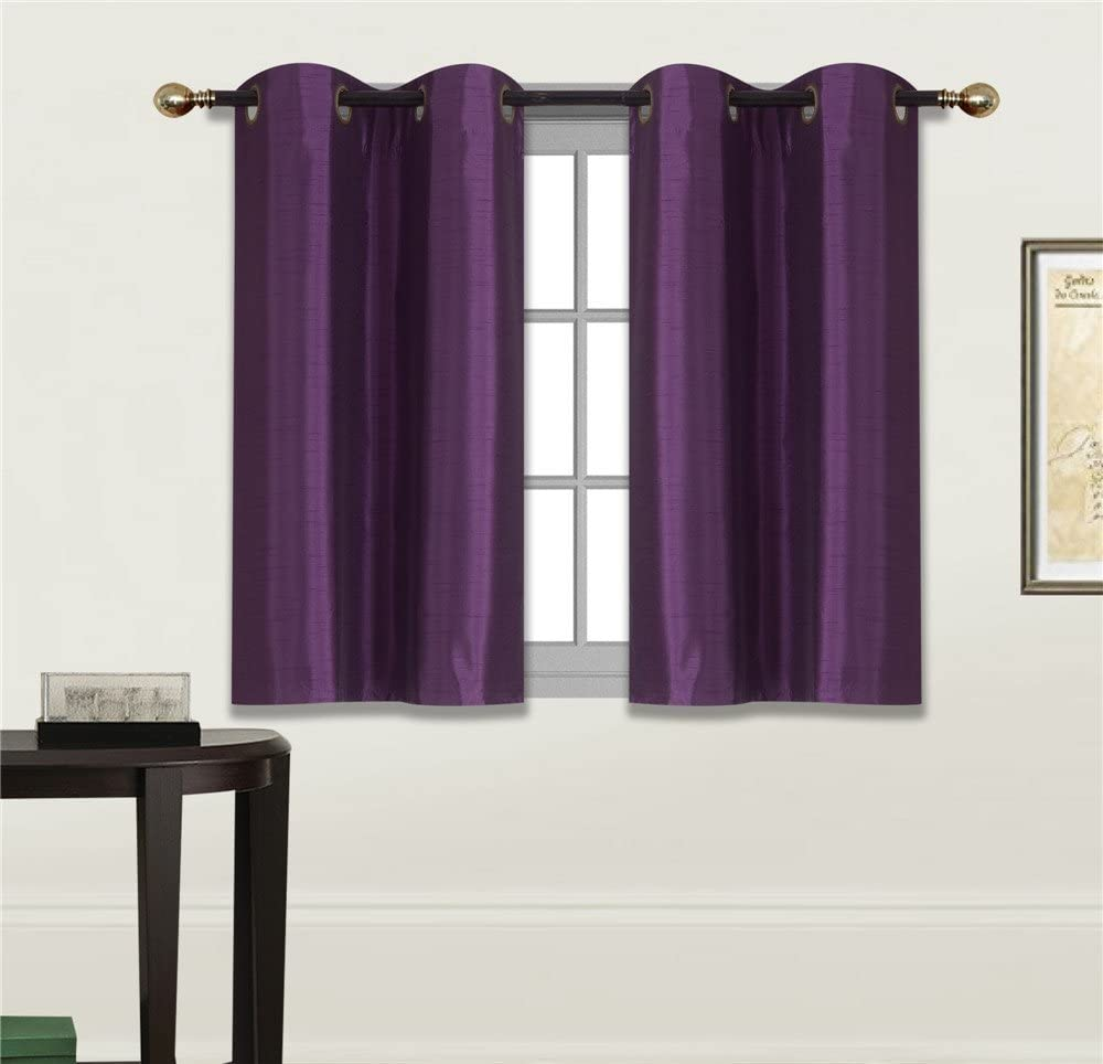 "Elegant Home 2 Panels Tiers Grommets Small Window Treatment Curtain Faux Silk Semi Sheer Drape Short Panel 28"" W X 36"" L Each for Kitchen Bathroom or Any Small Window # N25 (Purple/Plum)"