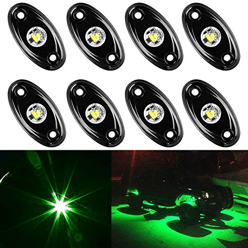 Amak 8 Pods LED Rock Lights Kit Green Underbody Glow Trail Rig Light Waterproof Underglow LED Neon Lights for JEEP Off Road Trucks Car ATV SUV Vehicle Boat - ()
