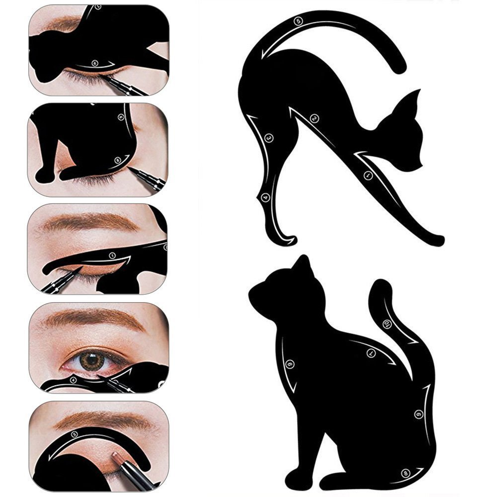 1Pair Cat Eyeliner Stencil Guides, Professional Multifunction Black Cat Shape Eye liner & Eye Shadow Guide Template Easy Quick Makeup Tool Bodhi2000
