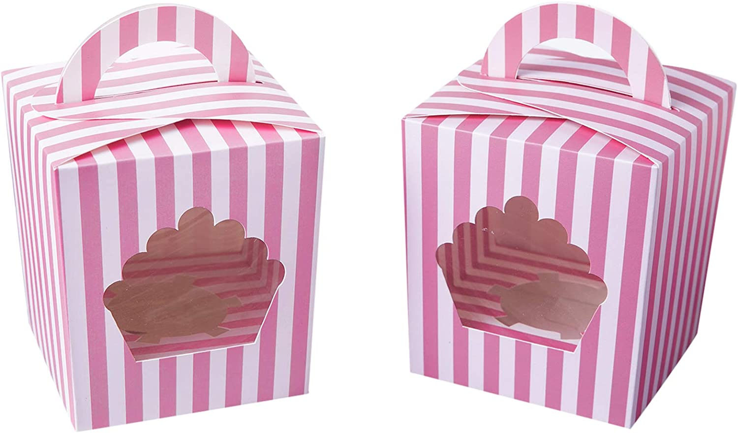 Large Single Cupcake Boxes Containers,Pink Individual Cardboard Cupcake Box Carrier with Insert&Handles and PVC Window For Birthday and Party Favors Pack of 15