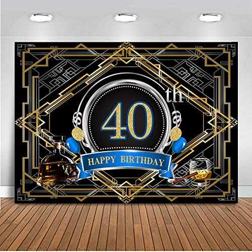 Mocsicka 40th Birthday Backdrop 8x6ft Vinyl The Great Gatsby Theme Happy Forty Birthday Photography Background Cigar Wine Black and Gold Photo Studio Prop ()