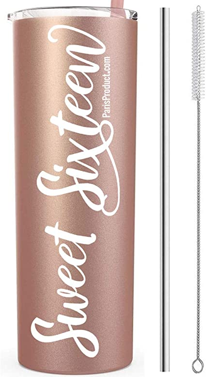Amazon Com Sweet 16 Gifts For Girls 16th Birthday 20 Oz Rose Gold Stainless Steel Tumbler Sweet 16 Birthday Decorations 16th Birthday Gift Idea Party Supplies 16th Birthday Decorations For Girls Toys Games