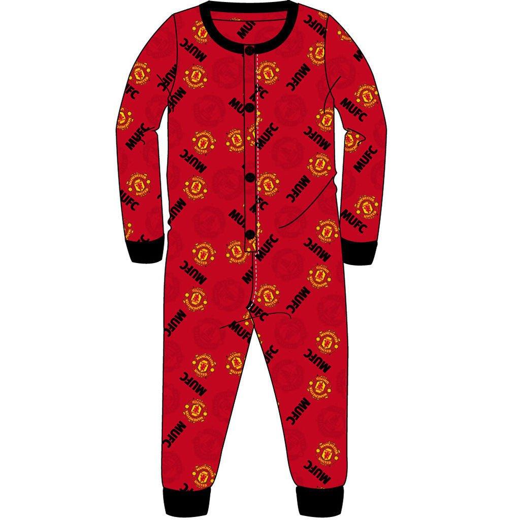 Boys Girls Manchester Utd All In One Sleepsuit Night Wear Red